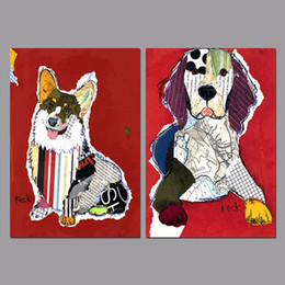 Wholesale Red Animals Spot Dogs Puppy Graffiti Posters Decoration Wall Art Pictures Canvas Painting For Living Room Home Decor Unframed