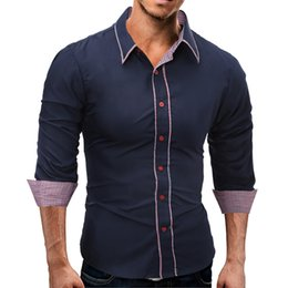 Free Shipping US Size M-3XL High Quality 2017 Autumn New Fashion Men Hit Color Package Slim Long-sleeved Shirt