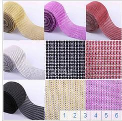 Wholesale 1 Yard Send Wedding Diamond Mesh Party Decorations Trim Wrap Roll Sparkle Rhinestone Crystal Bling Cake Ribbon Strass colors