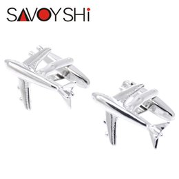 Wholesale Silver Aircraft shape Cufflinks for Mens High quality Brand Novelty Fashion Cuff bottons Hot Sale SAVOYSHI Jewelry Retail