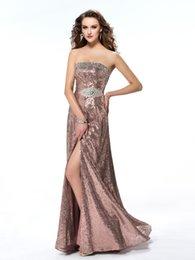 Wholesale Strapless Open Side Prom Dresses - Strapless Beaded Decoration 2016 Bridesmaids Dresses Long Floor Full Sequined Prom Dresses Open Back Prom Gowns Side Split Evening Dresses