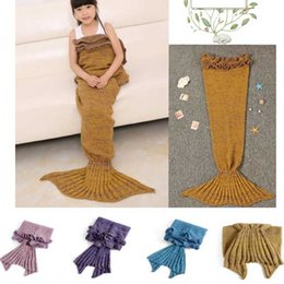 Wholesale New Arrival Lotus Leaf Blankets For Beds Sofa Sleeping Wrap Mermaid Fish Tail Handmade Knitted Blanket Baby Children Swaddle Kids Best Gifts
