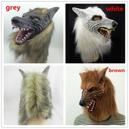 On Sale Wolf Mask Cosplay Animal Mask Latex Mask Horror Halloween Party Mask Scary Carnival Party Costume Grey brown White DHL free shipping