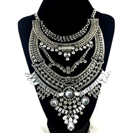 Luxury Vintage Gold Silver Big P Pendant Chain Crystal Chunky Statement Necklace H210987