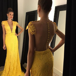 Bright Yellow Lace Cap Sleeve Prom Dresses 2017 Illusion Deep V Neck Sheer Back Covered Buttons Evening Gowns Mermaid Formal Party Dresses
