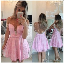 2016 New Pink Lace Homecoming Dresses Pearls Beaded 8th grade short Prom Dress Cocktail Dresses Short Evening Dress sweet 16 party dresses