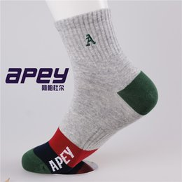 Wholesale APEY Cotton color men socks Mens Winter and Autumn Socks with embroidery design basketball Leisure sports socks in british style