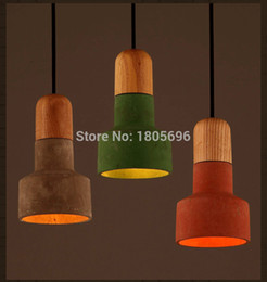 Wholesale Vintage Europe American Style Single Head Wood Holder Cement Lamp Modern Home Droplight Pendant Light for Dinning Room