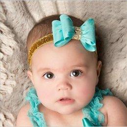 Wholesale Baby Girls Bow Rhinestone Glitter Headbands Satin Elastic Gold Powder Hairbands Kids Children Princess Headdress Hair Accessories KHA381