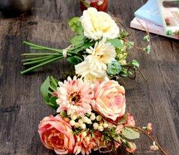 Wholesale Silk Champagne Bridal Bouquets - Champagne Pink Elegant Rose Artificial Bridal Flowers Bride Bouquet Wedding Bouquet Crystal Royal Blue Silk Ribbon Buque De Noiva 2 Colors