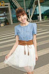 Korean women s dress à venda-Estilo coreano 2.016 mulheres de vestido de verão Denim emenda Chiffon véu Big Girls Tutu Tulle Vestidos Ladies Casual Magro Dressy J4255