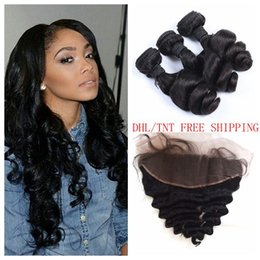 Peruvian Loose Wave Human Hair Weave Bunbles With Lace Frontal Closure 4 PCS LOT Shedding Free LaurieJ Hair