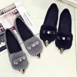 2016 New woman pointed flat shoes women fashion suede shoes fashion rabbit leisure shallow mouth flat heels Free Shipping Size;35 - 39