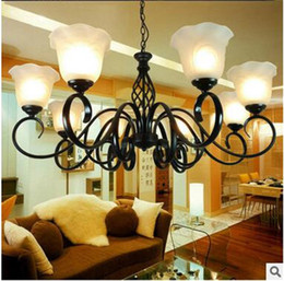 LRE043-Wholesale Antique Iron Glass Modern Hotel Lobby Chandeliers & Pendant Lights Wrought Iron Antique Egyptian Crystals Chandelier