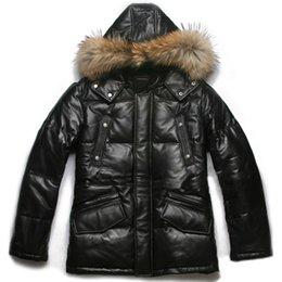 Wholesale Avirex down filled leather bubble jacket men s black sheepskin genuine leather jacket zip off hat down coat in winter