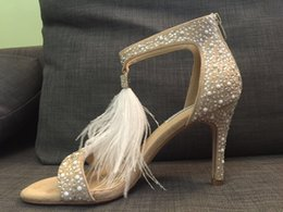 actual shoes! 3793 34 genuine leather feather rhinestone pearl heel sandals sexy luxury designer shoes women party brand