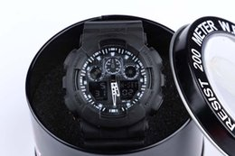 Wholesale Fashion sports watch ga100 G Display LED Fashion army military shocking watches men Casual Watches with round box