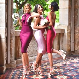Lady Fitted Short Evening Party Dresses Knee Length Prom Dress Ruched Halter Neck Sexy Backless Bridesmaid Dresses Customize Evening Gowns