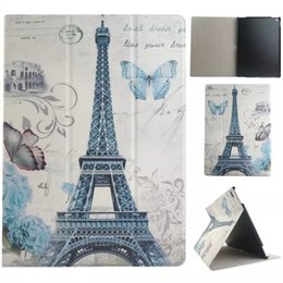Wholesale Best selling retro leather book case tablet protect shell Eiffel Tower colorful panting case for ipad Mini ipad Pro