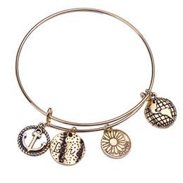 Wholesale Alex And Ani Statement Bracelets Gold Bangle Adjustable Anchor Love Global Charm Bangle Bracelets