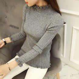 Wholesale South Korean high necked sweaters Women s half sleeve sweater head thick wood ear short sleeved shirt Slim autumn and winter