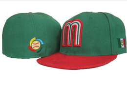 Cap mexico en Ligne-Nouveau Casquettes équipée Casquettes Équipe Chapeau Vert Couleur Mexique Cap All Size Mix Ordre de correspondance All Caps High Quality Hat