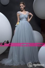 Wholesale 2016 Dusty Blue Tulle Evening Dresses for Arabic Dubai Qatar Oman UAE Special Formal Occasion Ball Wear Prom Gowns Sale Cheap Party Dressess