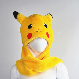 Wholesale Poke mon Go Pikachu hats Cotton Cartoon Plush Toys Beanie Animal Christmas Present Plush Winter Hat Caps
