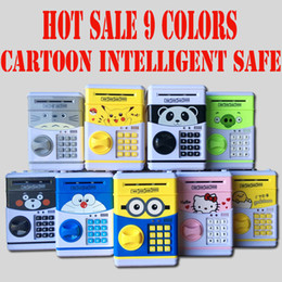Wholesale Cartoon Safety Box Pikachu Minions Piggy Bank Mini Money Saving Box Password Locks Coins Cash ATM Deposit Machine Christmas Gift For Kids
