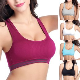 Wholesale New Arrivals Lady s Women s Sports Bra Tank Top Lycra Nylon Seamless Sexy Running Fitness Yoga Padded Stretch Workout EB184 Free S