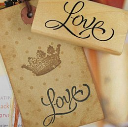 Wholesale-3 disigns DIY Wood Love you Stamps Vintage Wooden Stamp for Scrapbooking Decoration Creative Gift Labels, Indexes & Stamps