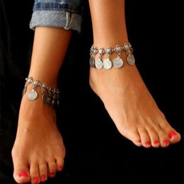 Wholesale The new fashion brand with money Style restoring ancient ways Metal coin tassel anklets