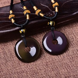 100% Natural Ice Kinds Rainbow Eye Obsidian Natural Obsidian Peace Buckle Pendant Men and Women Lucky Blessing Amulet Necklace