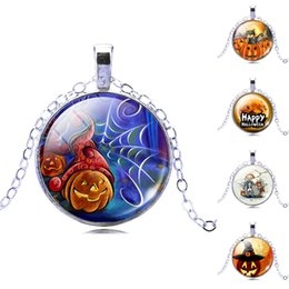 Wholesale 2016 Halloween motif pendant necklace for women man Fashion jewelry Time Gem Alloy Chain Jack O Lantern Witch necklaces