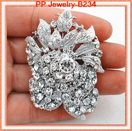 Fashion Vintage Silver Rhodium Plated Bunch Of Crystal Rose Huge Brooch Pins B234 Wedding Bouquet DIY Brooches Exquisite Bridal Rose Brooch