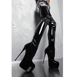 Black Shinny Thigh High Boots for Ladies boots with 16cm High Heel platform Round Toes Designer Fashion Boots with Platform BLP1004-1