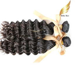 "Virgin Unprocessed Human Hair 10""-28"" Indian Hair Extensions Double Weft Natural Color Deep Wave Hair Extensions 8A Bellahair On Sale"