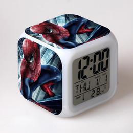 Boîte d'araignée jouet en Ligne-Spider Man Night Light Horloges numériques LED 7 Clolor Flash Clock Spiderman Jouets incandescents pour enfants Garçons Cadeaux avec boîtes