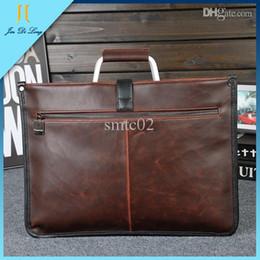 Wholesale Antique Men Leather Briefcase Large Capacity Crazy Horse Laptop Brown with Black Business Men s Handbag Messenger Bags Tote