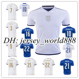 Wholesale Top Thai quality Italy Home blue Soccer jersey Italia ZAZA INSIGNE EL SHAARAWY PIRLO VERRATTI MARCHISIO Away white Football shirt