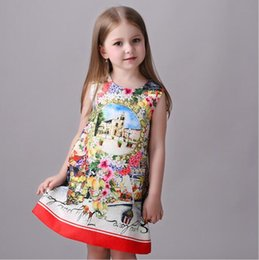 Wholesale 2016 New Stock Spring summer new printed jacquard high end European and American girls dress princess Restoring ancient ways Dres