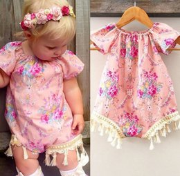 0-24M Baby Girl summer Clothes infant Floral print Romper with Tassel Flower Jumpsuit Short Sleeve Summer Outfit