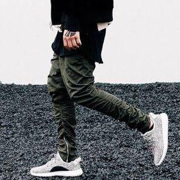 Kanye West Pants Men Ankle-Zip Biker Pants Slim Skinny Cotton Casual Trousers Sports Jogger Pants Hip-Hop Streetwear LGF0605
