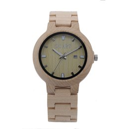 Japan Quartz Wooden Watch, Omelong Super Thin Watch Case, Silver Circles on Dail, Ideal Gift for Man,Four Colors For Choice