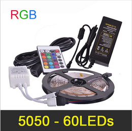LED Strip Light RGB SMD5050 5meter 60pcs m Remote Controller and Power Adapter 5A DC12V Non-Waterproof with UK US EU AU plug