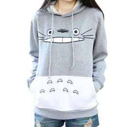 2017 winter women's new best-selling fashion cartoon Totoro printing long sleeved sweater female hooded hoodies coat