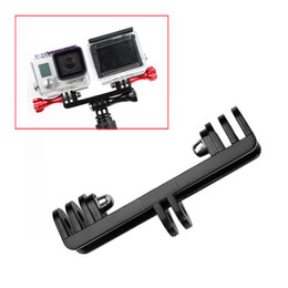 Wholesale-Gopro Mount to Dual Mount Converter Adapter + Screw for 2 Gopro Cameras   Gopro and LED light same time using