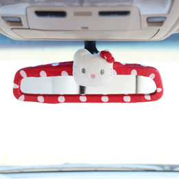 Free Shipping New Fashion 1pcs Hello Kitty Bow Car Rear Mirror Cover Cartoon Car Interior Accessories 5 Colors
