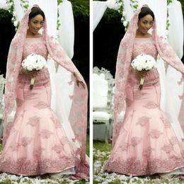 2019 Elegant African Pink Mermaid Wedding Dresses Long Sleeve Sheer Jewel Neck Muslim Bridal Gown For Fall Winter Wedding With Free Veils
