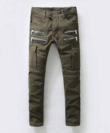 Wholesale 1603 NWT BP Men s Stylish Fashion Stretch Slim Cargo Washed Biker Green Jeans Size Balmain jeans